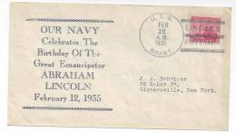 Naval Cover USS Brant AM-24 Lincoln´s Birthday Cover 1935 Sc# 736 - United States