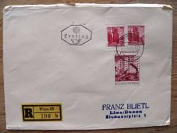 Cover Sent In Austria Osterreich, Ersttag FDC,  Registered, Wien, Wiederaufbau - 1945-.... 2nd Republic