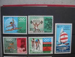 Timbres Belgique : Jeux Olympiques De Mexico 1968 COB N° 1456 à 1460 ** - Belgique