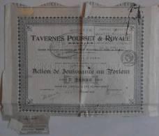 ACTION DE JOUISSANCE AU PORTEUR TAVERNES POUSSET & ROYALE - Actions & Titres