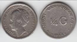 **** CURACAO - PAYS-BAS - NETHERLANDS - 1/4 GULDEN 1944 D WILHELMINA - ARGENT - SILVER **** EN ACHAT IMMEDIAT - Curaçao
