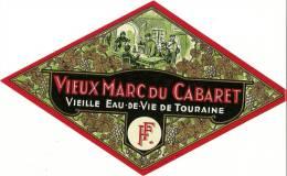 Etiquette Bouteille Ref 002. Vieille Eau-de-vie De Touraine - Vieux Marc Du Cabaret - Other Bottles