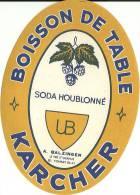 Etiquette Bouteille Ref 009. Boisson De Table - Soda Houblonné - Karcher - Balzinger - Pré Saint-Gervais - Soda