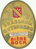 Etiquette Bouteille Ref 012. Brasserie Gutenberg - Bière Bock - Pré Saint-Gervais - Beer