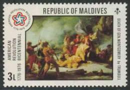 "Maldives Malediven 1976 Mi 644 ** ""Death Of Gen. Montgomery"" – Attack On Quebec, Painting By Trumbull - Onafhankelijkheid USA"