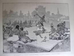Les Achantis Au Jardin D'acclimatation , Danse Guerriére , Gravure Dété Dessin Vierge 1887 - Documents Historiques