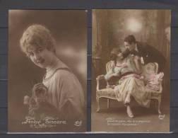 """2 Cartes - Amitié Sincère (Femme, Bouquet) - """"Quand On S'aime, Vite On S'empresse.."""" (Couple, Colorisée) - Editeur : Nox - Illustrators & Photographers"""