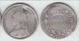 ****  GREAT BRITAIN - GRANDE-BRETAGNE - 6 PENCE 1889 VICTORIA - SILVER - ARGENT **** EN ACHAT IMMEDIAT !!! - 1816-1901: 19. Jh.