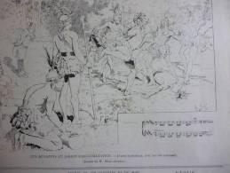 Les Achantis Au Jardin D'acclimatation , Danse Nationale , Gravure D'aprés Dessin De Marc Auréle 1887 - Documents Historiques