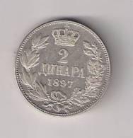 Gh5  Serbia (Serbie) 2 Dinara 1897.Silver Argent Ag Coin - Serbie