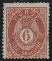 NORUEGA 1871/75 - Yvert #20 - MLH * - Noruega