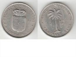 Belgium Congo 1 Franc  1958   Km 4   Xf+ - 1951-1960: Boudewijn I