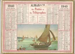 ALMANACH CALENDRIER DES POSTES ET TELEGRAPHES 1940 IMPRIMERIE OLLER 51 MARNE - Big : 1921-40