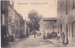 CPA 66 PYRENEES ORIENTALES TOP RARE POLLESTRES LA POSTE ET LA MAIRIE TRES ANIMEES VERS 1920  DOS VERT EDITEUR NAVARRO - Autres Communes