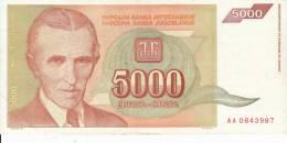 Billets Yougoslavie 5000 Dinara N° 128  Année 1993 XF - Yugoslavia