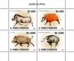 St7408 S.Tome Principe 2007 Hogs S/s Pig Michel: 3231-3234 Scott: 1770 - Rodents