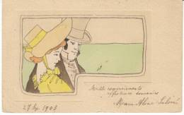 Artist Illustration, 19th Century Fashion, Romantic Couple Romance, C1900s Vintage Postcard - Coppie