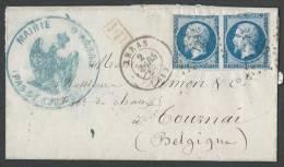 FRANCE - Lettre Avec Une Paire De 20 C. De La Mairie D'Arras Pour Tournai (Belgique) - 2 Scans - Postmark Collection (Covers)