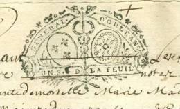 Cachet Généralité D'orleans 1 Sol La Feuille Répété 3 Fois ( Doc 6 Pages ) Daté En 1719  ( 4 Scans ) - Pho139 - Seals Of Generality