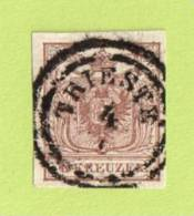 """AUT SC #4  1850 Coat Of Arms, W/SON (""""TRIESTE"""" In Double-ring) W/sm Adh On Backside, CV $6.00 - 1850-1918 Empire"""