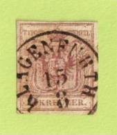 """AUT SC #4  1850 Coat Of Arms, W/SON (""""KLAGENFURTH / 8-15"""") - Used Stamps"""