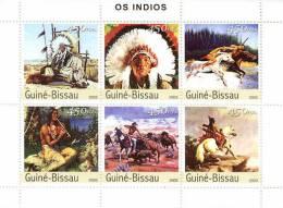 gb3324  Guinea Bissau 2003 American Indians s/s Michel: 2357-2362