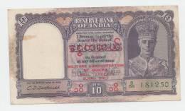 Burma 10 Rupees 1945 AXF (one Pinhole) P 28 - Myanmar