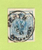 "AUT SC #5  1850 Coat Of Arms, W/SON (""PESTH / 9-25(?)"") W/horiz. Crs @ C, CV $9.00 - 1850-1918 Empire"