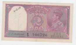 India 2 Rupees 1943 AXF (pinhole + Grafiti) P 17b - India