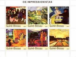 Gb3317  Guinea Bissau 2003 Art Impressionistes  Painting S/s Gauguin Van Gogh Michel: 2309-2314 - Impressionisme