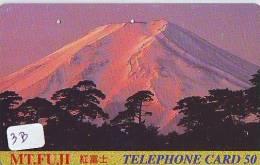 Télécarte Japon * Volcan MONT FUJI (3b) Vulcan * Japan Phonecard * Vulkan Volcano * Telefonkarte * Mount Fuji - Montagnes