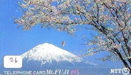 Télécarte Japon * Volcan MONT FUJI (26) Vulcan * Japan Phonecard * Vulkan Volcano * Telefonkarte * Mount Fuji - Montagnes