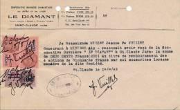 """Timbre Fiscal De 2 Et 1 Francs Et De 50c Sur 75 C Barré;sur Document  De 1949"""" Le Diamant """" Coop à Saint Claude - Fiscaux"""