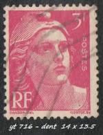 1945- 47 - Europe - France - Marianne De Gandon - 3 F.  Rose -