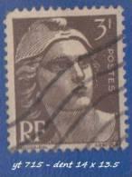 1945- 47 - Europe - France - Marianne De Gandon - 3 F.  Brun Foncé  -