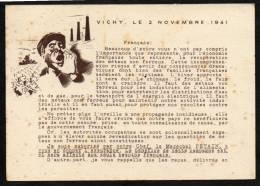 Carte De Propagande Pétain, Vichy Le 2 Novembre 1941 - Pseudo-entiers Officiels