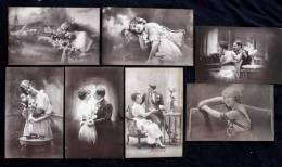 Lot De 7 Cartes Couple Et Jeune Femme Romantique - French Glamour - Tendresses Amour Love - Dos Vierges - Fantaisies