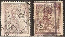 1913 - Magyar 5 Korona Color Variants - Oblitérés