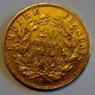 20 Francs Or Napoleon III Tête Nue 1854 A - France