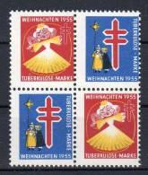 1955 - Anti Tuberkulose - Weihnachten , Anti Tuberculeux , Christmas Anti-tuberculosis, Bloc De 4 Vignettes, Lot 38357 - Cinderellas