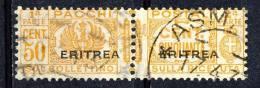 Eritrea 1927-37 Pacchi Sassone Serie 56 N 25 C. 50 Arancio Usato - Erythrée