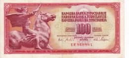 Billet Yougoslavie 100 Dinara N° 80a Année 1965 XF - Jugoslavia