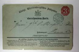 Germany: Württemberg, Correspondenz-Karte, Mi P2, Rotweil To Mannheim, 1871