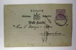 Germany: Württemberg, Postkarte, Mi P18 Rotweol  To Mannheim, 1874