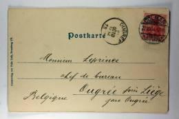 Germany: Elsas/Elzas German Occupation Postkarte Colmar To Augrée / Liege, 1904 - Briefe U. Dokumente