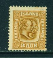 ICELAND - 1907 Kings Christian IX And Frederick VIII  3a Unused (no Gum) - Neufs