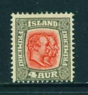 ICELAND - 1907 Kings Christian IX And Frederick VIII  4a Unused (no Gum) - Neufs