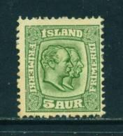 ICELAND - 1907 Kings Christian IX And Frederick VIII  5a Unused (no Gum) - Neufs