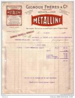 RHÔNE - DECINES - SOLUTION METALLIQUE POUR CAPSULAGE - METALLINE - GIGNOUX FRERES & CIE - 1920 - France