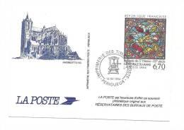 Cp, Timbre (Représentation), Cathédrale Du Mans (72) - La Poste - Timbres (représentations)
